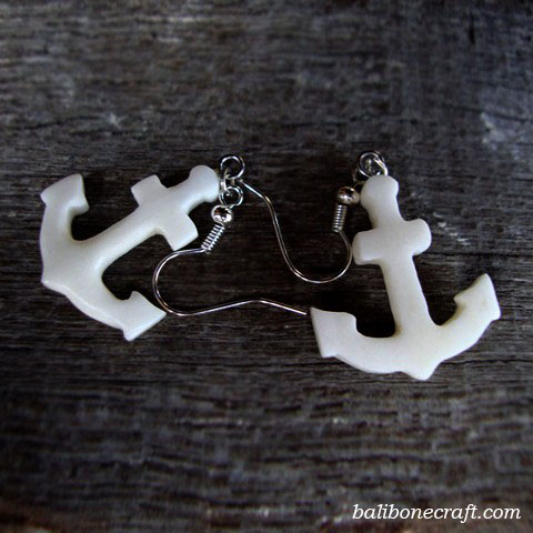 anchor earring made from bone