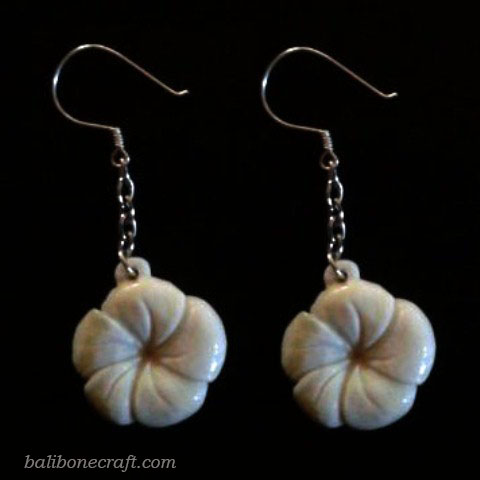 flower earring made from bone